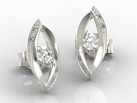 Diamonds 14ct white gold earrings LPK-60B
