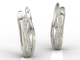 Diamonds 14ct white gold earrings LPK-73BZ 0,09 ct