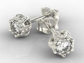 Diamonds 14ct white gold earrings in the shape of a lily of the valley APK-4010B