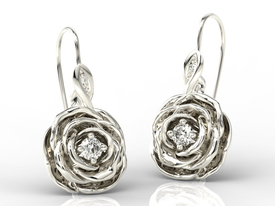 Diamonds 14ct white gold earrings in the shape of a rose APK-95B
