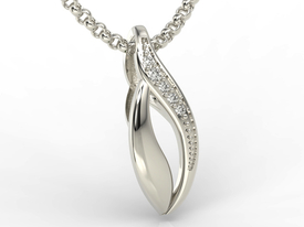 Diamonds 14ct white gold pendant BPW-17B