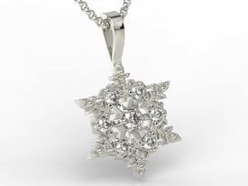 Diamonds 14ct white gold pendant in the shape of a snowflake LPW-8608B