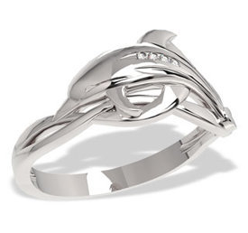 Diamonds 14ct white gold ring in the shape of a dolphin LP-28B