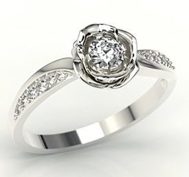 Diamonds 14ct white gold ring in the shape of a rose LP-4234B