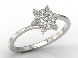 Diamonds 14ct white gold ring in the shape of a snowflake LP-86B