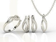 Diamonds 14ct white gold set - ring, earrings and pendant BP-17B-ZEST