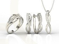 Diamonds 14ct white gold set - ring, earrings and pendant LP-6708B-ZEST