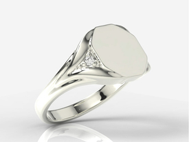 Diamonds 14ct white gold signet SJ-18B