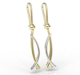 Diamonds 14ct white & yellow gold earrings APK-72ZB
