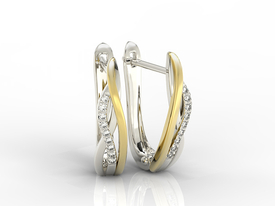 Diamonds 14ct white & yellow gold earrings LPK-73BZ 0,09 ct
