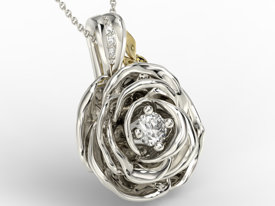 Diamonds 14ct  white & yellow gold pendant in the shape of a rose APW-95BZ