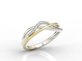 Diamonds 14ct white & yellow gold ring LP-73BZ
