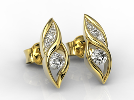 Diamonds 14ct yellow gold earrings APK-51Z-R