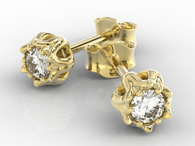 Diamonds 14ct yellow gold earrings in the shape of a lily of the valley APK-4010Z