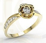 Diamonds 14ct yellow gold ring in the shape of a rose LP-4221Z-R