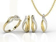 Diamonds 14ct yellow gold set - ring, earrings and pendant BP-17ZB-ZEST