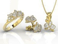 Diamonds 14ct yellow  gold set - ring, earrings and pendant BP-45ZB-ZEST