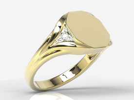 Diamonds, 14ct yellow gold signet SJ-18Z-R