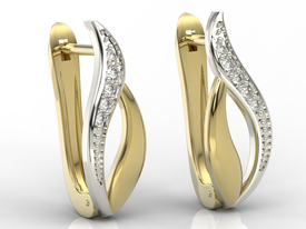 Diamonds 14ct yellow & white gold earrings BPK-17ZB