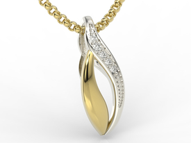 Diamonds 14ct yellow & white gold pendant BPW-17ZB