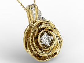 Diamonds 14ct yellow & white gold pendant in the shape of a rose APW-95ZB