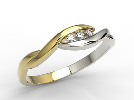 Diamonds 14ct yellow & white gold ring AP-4304ZB