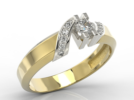 Diamonds 14ct yellow & white gold ring JP-66ZB