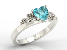 Diamonds & Swarovski Ice Blue topaze 14ct white gold ring AP-53B