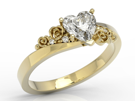 Diamonds & Swarovski White topaze 14ct gold ring AP-53Z
