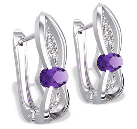 Diamonds & amethysts 14ct white gold earrings LPK-39B