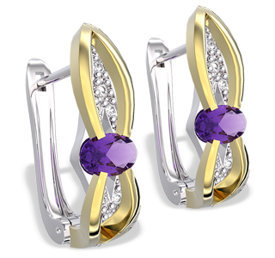 Diamonds & amethysts 14ct white & yellow gold earrings LPK-39BZ