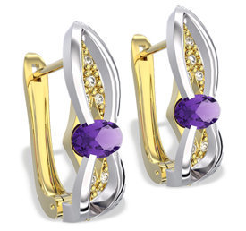 Diamonds & amethysts 14ct yellow & white gold earrings LPK-39ZB