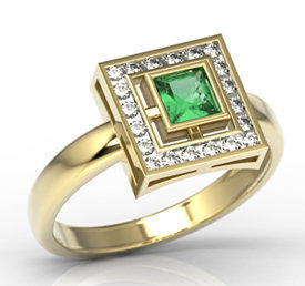Diamonds & emerald 14ct gold LP-68Z