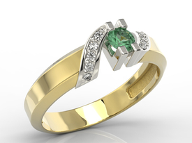 Diamonds & emerald 14ct gold ring JP-66ZB
