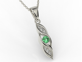 Diamonds & emerald 14ct white gold pendant APW-51B