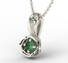 Diamonds & emerald 14ct white gold pendant LPW-4221B