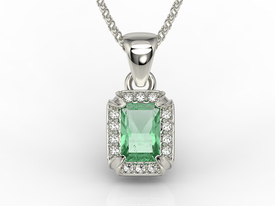 Diamonds & emerald 14ct white gold pendant LPW-84B