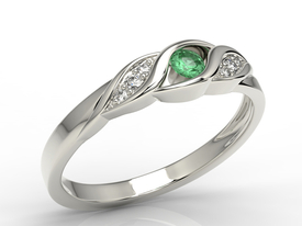 Diamonds & emerald 14ct white gold ring AP-51B