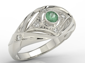 Diamonds & emerald 14ct white gold ring AP-9908B