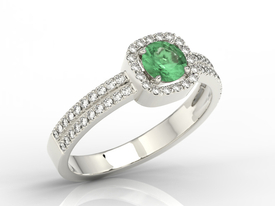 Diamonds & emerald 14ct white gold ring BP-52B