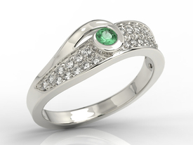 Diamonds & emerald 14ct white gold ring JP-53B
