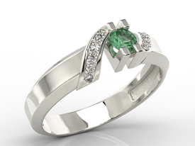 Diamonds & emerald 14ct white gold ring JP-66B