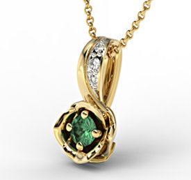 Diamonds & emerald 14ct yellow gold pendant LPW-4221Z-R