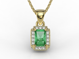Diamonds & emerald 14ct yellow gold pendant LPW-84Z