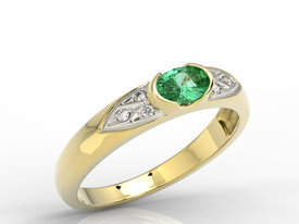 Diamonds & emerald 14ct yellow gold ring 0,06ct  AP-80Z