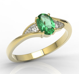 Diamonds & emerald 14ct yellow gold ring AP-60Z-R