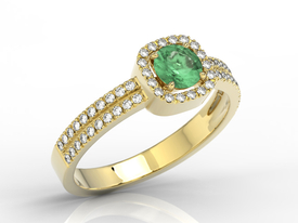 Diamonds & emerald 14ct yellow gold ring BP-52Z