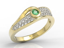 Diamonds & emerald 14ct yellow gold ring JP-53Z-R