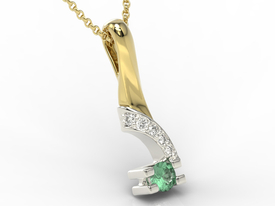 Diamonds & emerald 14ct yellow & white gold pendant JPW-66ZB