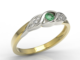 Diamonds & emerald 14ct yellow & white gold ring AP-51ZB